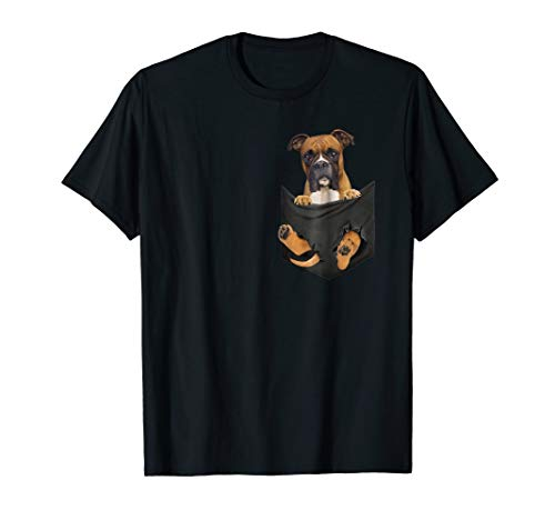 Boxer In Pocket Puppy T Shirt, Boxer lover, Boxer cute