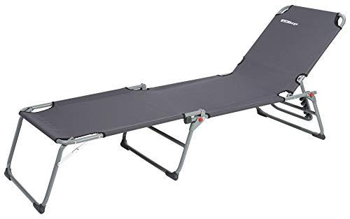 BERGER Dreibeinliege, Stahlgestänge, grau, Belastbar bis 120 kg, 5-Fach verstellbar, Tragetasche, Feldbett Campingliege