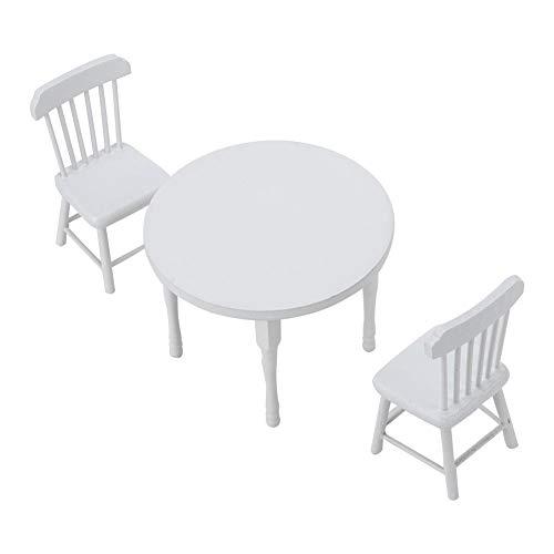 Zerodis 1:12 mesa de comedor de madera blanca en miniatura y dos...