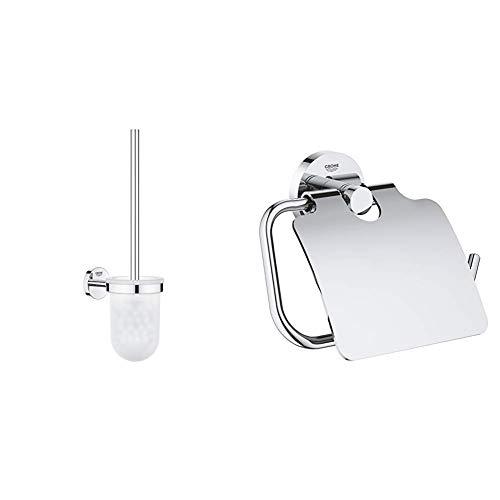 GROHE Bau Cosmopolitan| Badaccessoires - Toilettenbürstengarnitur | 40463001 & Essentials Badaccessoires WC-Papierhalter, chrom, 40367001