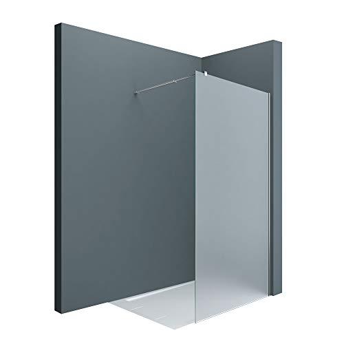 Sogood Luxus Duschwand Duschabtrennung Bremen1VS 100x200 Walk-In Dusche mit Stabilisator aus Echtglas 8mm ESG-Sicherheitsglas Milchglas inkl. Nanobeschichtung