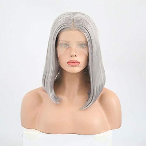 Spets front peruker, kort bob silver grå rakt hår full peruk för kvinnor flickor, värmebeständig syntetisk fiber, nytt mode, naturligt utseende, hög täthet 30 cm daglig klänning cosplay fest karneval