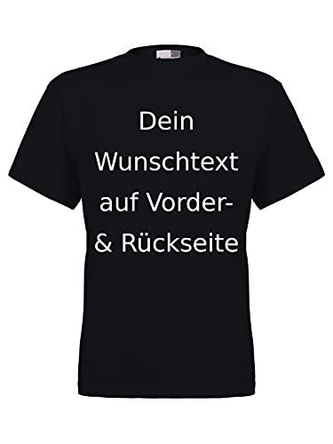 Marken T-Shirt mit Wunschtext - Front- und Rückenprint - Schwarz L - Sprüche indivduell auf das T-Shirt drucken Lassen   Personalisierter Textildruck