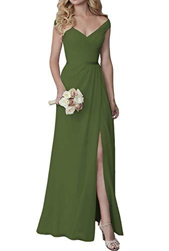 Elleybuy Bridesmaid Dress,V Neck Off Shoulder Bridesmaid Dress for Women,Chiffon Wedding Bridesmaid Dress w/Slit 2020 Olive Green
