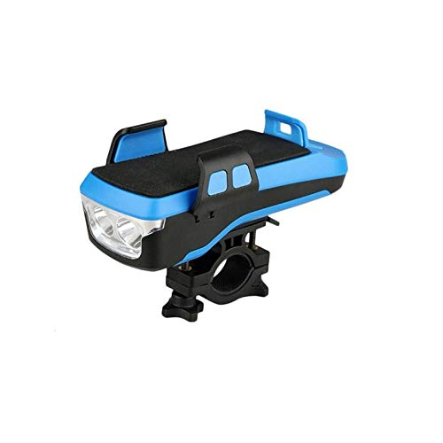 GBHD Multifuncional 4 en 1 Luz de bicicleta Linterna de iluminación de bicicleta Bocina de bicicleta Potencia móvil Bicicleta Luz delantera Soporte para teléfono móvil (Color: Azul 2400mah)