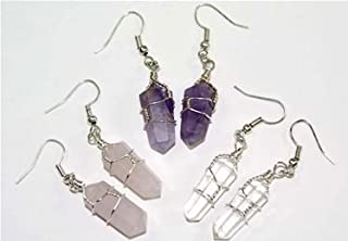 Generic 3 Pair Double Terminated Wire Wrapped Amethyst, Quartz & Rose Quartz Crystal Pt. Earrings Costume