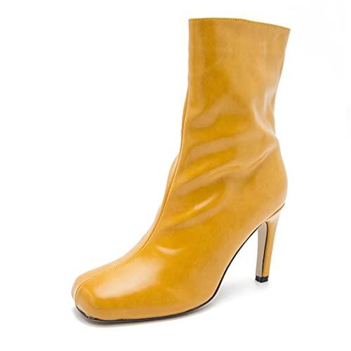 GUOIOOI Botas de Mujer, Bota de Media caña de Cuero PU de Moda con Punta Cuadrada Botas de Tacones de Aguja versátiles Multicolor Bombas de Vestido de Novia 9cm (Color : Yellow, Size : EUR36/US5)