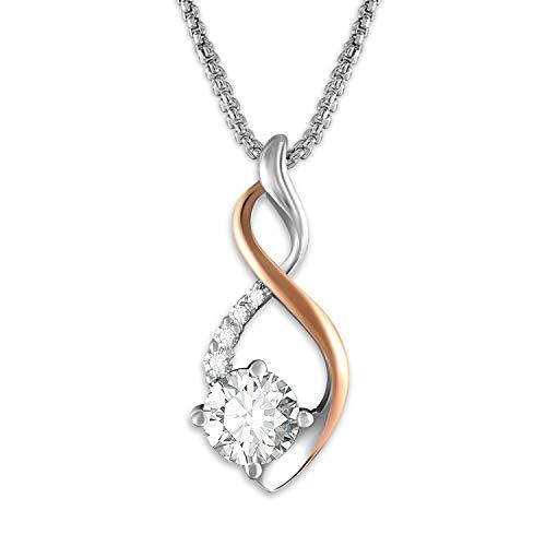 GEORGE · SMITH Collier Pendentif Argent Sterling 925 pour Femme, Collier Or Rose avec Diamant Zircon 5A, Collier Femme Cadeau Anniversaire Femme Maman
