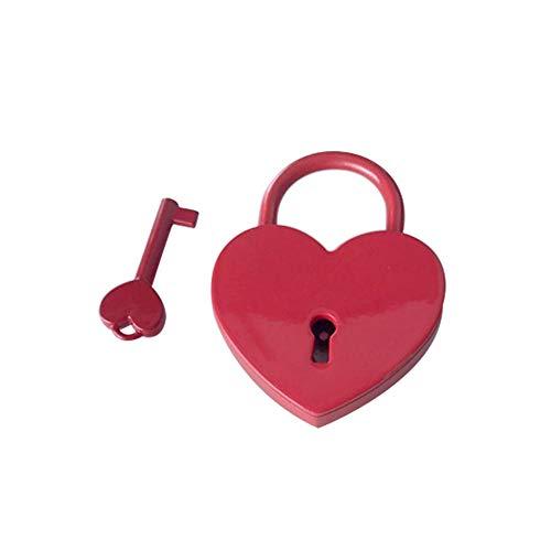 Lock Pad Lock Mini Hart Vorm Lock Bagage Case Gym Locker Hangslot Sleutel Home Appliance Craft Dagboek Speelgoed Kleine Doos Rood Hart