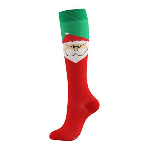 Weihnachten Compression Hohe Strümpfe Damen Herren Druck Socken Compress Sport Muster Lauf Knee High Nylon Run Socken (Color : 5, Size : Small)