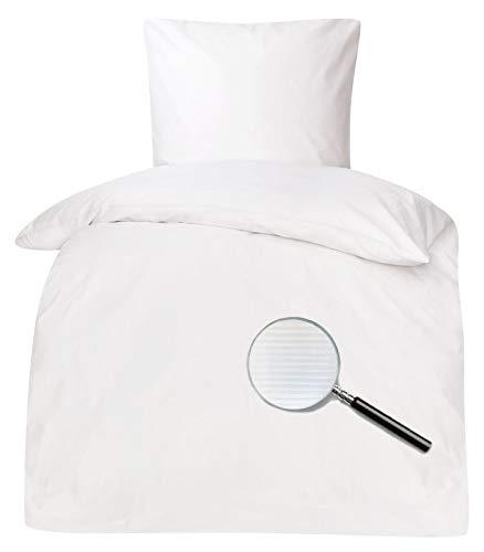 Brennet Hotelbettwäsche Bettwäsche weiß Damast Streifen 2 mm Querstreifen Reißverschluss 95° 135x200 / 80x80