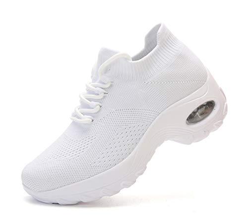 Chaussure Running Femme Lacets Élastique Tissage Respirante Antidérapant Outdoor Sport Doux Air Coussin DéContracté Sneaker Blanc 41 EU