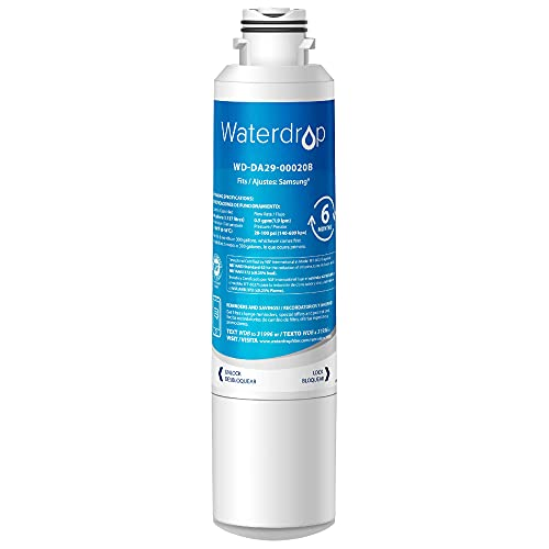 Waterdrop DA29-00020B Refrigerator Water Filter, Replacement for Samsung DA29-00020B, DA29-00020B-1, HAF-CIN/EXP, 46-9101, RF4267HARS, RF28HFEDBSR, RF28HMEDBSR, RF263BEAESR, 1 Filter