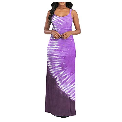 URIBAKY - Vestido sin mangas para mujer, sin mangas, vestido largo de playa malva XXL