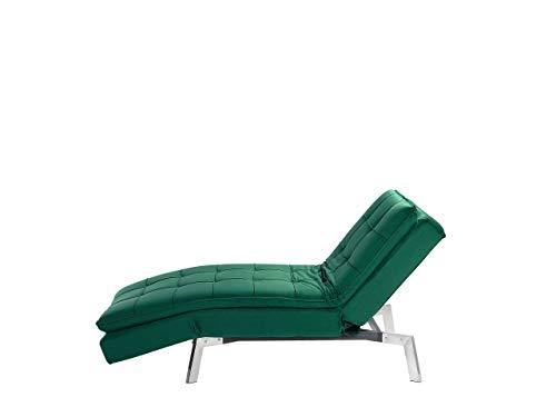 Moderne, verstellbare Chaiselongue in Smaragdgrün Bezug aus Samtstoff Récamiere Loiret