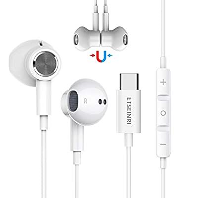 USB C Earphones, Magnetic USB Type C Earphone in Ear Wired Earbuds Headphones HiFi Stereo with Mic and Volume Control for Pixel 2/3/4/5, Sam.sung S20 S21 Note10, Hua.wei P30 Pro and Pad Pro (White) from Etseinri