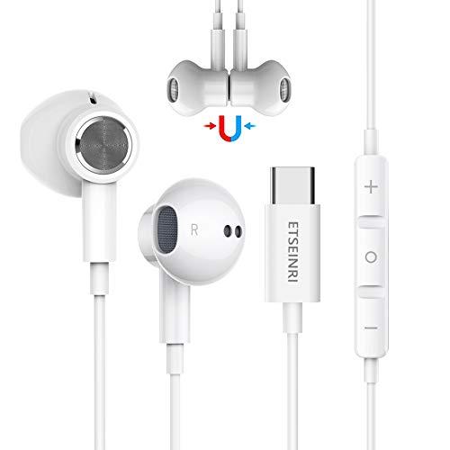 Auriculares USB C, Auriculares USB Tipo C estéreo de Alta fidelidad magnéticos con micrófono y Control de Volumen Compatible con Pixel 2/3/4/5, Sam.Sung S20 S21 Note10, Hua.wei P30 Pro and Pad Pro