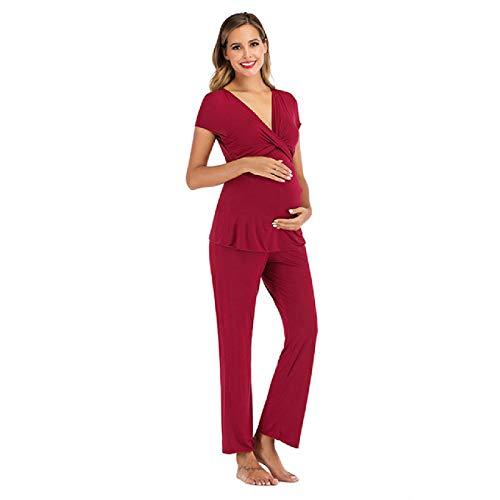 Pijamas de Maternidad para Mujeres Embarazadas Que amamantan Conjunto de Pijamas de 2 Piezas