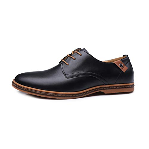 riou Zapatos Casuales de Hombre con Cordones Zapatos de Negocios Zapatos Oxford Moda Cuero Estilo Británico Sneakers Negro Azul 38-44