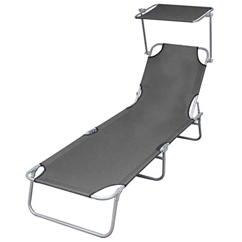 vidaXL Sun Lounger with Canopy,Outdoor Folding Adjustable Reclining Chairs Pool Side Using Lawn Lounge Chair, Folding Recliner for Deck,Patio,Beach,Yard,Gray,74.4' x 22.8' x 10.6'