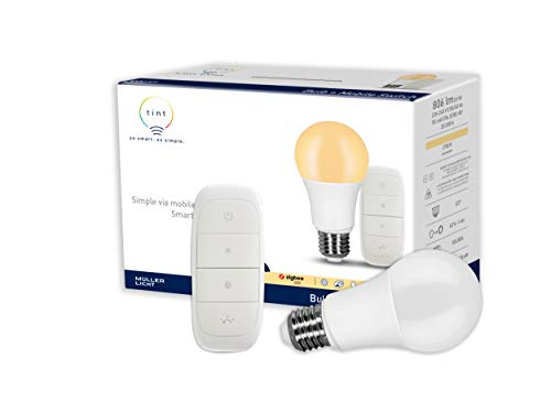 tint von Müller-Licht Smartes Starter Set warmwhite: LED Lampe E27, Birnenform, warmweiß (2700K), dimmbar, 9W ersetzt 60W Lampe, Zigbee, funktioniert mit Alexa, inkl. Mobile Switch