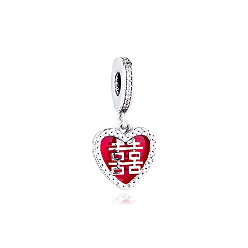 Diy 925 Pandora Colgante De Plata Esterlina Doble Felicidad Corazón Colgante Abalorios Encajan Pulseras Encantos De Moda Abalorios Para La Fabricación De Joyas