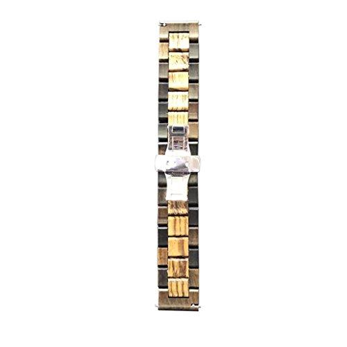 Bonarty 22mm Bracelet De Montre en Bois De Santal Rouge De Remplacement Bande De Libération Rapide Boucle Bracelet Bracelet De Montre Papillon Serrure - Brun, 22mm