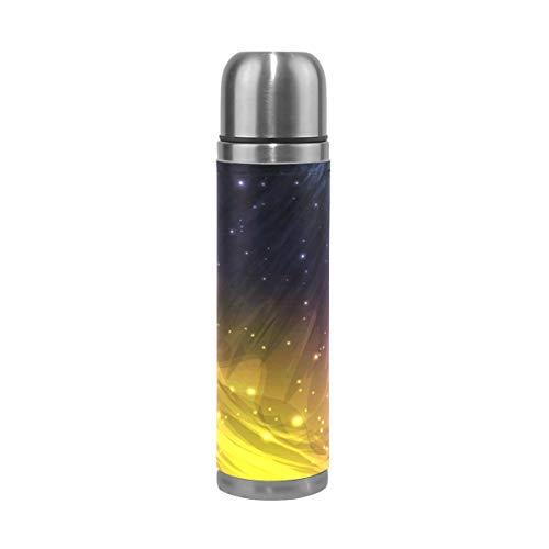 MNSRUU Bouteille d'eau à double paroi en acier inoxydable 500 ml Merveilleux Cosmic Galaxy Bouteille sous vide pour voyage en plein air Tasse à café Couvercle en cuir véritable