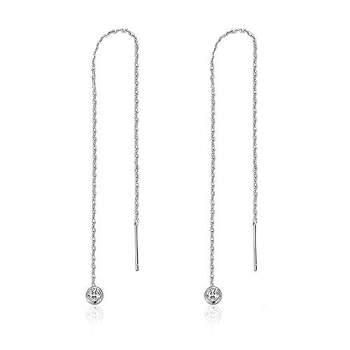 MetJakt Lässige Sportliche Stern Ohrringe Solide 925 Sterling Silber Ohr Linie Ohrring für Frauen Einfädler Edlen Schmuck (Diamant-Anhänger Silber)