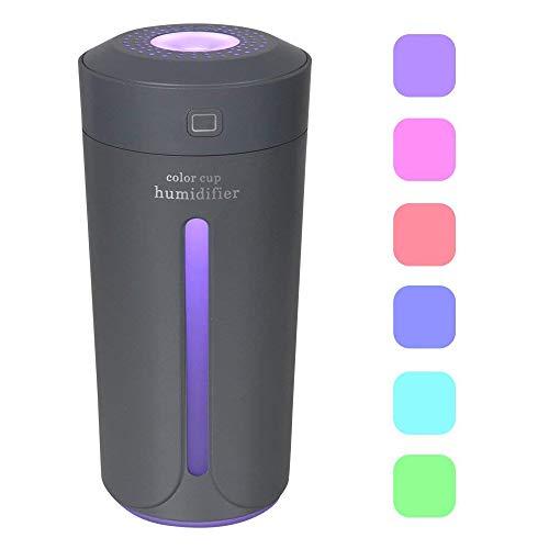 Dricar 230ml Mini LED Luftbefeuchter, USB Lampe Ultraschall Zerstäubung 7 Farbe Tasse Nachtlicht, Befeuchter leiser Betrieb, Abschaltautomatik Portable Zerstäuber für Office Auto und Zimmer