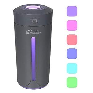 Dricar 230ml Ambientador Humidificador Coche – Humidificador Aromaterapia USB, Purificar el Aire y Mejorar el Aire Seco y Sofocante, Dormitorio, Hogar, Oficina, Coche(Gris)