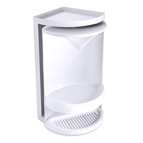 Estante Triangular Giratorio, Cuarto de Baño 360° de Doble Capa Rack de Almacenamiento Organizador de Ducha de Esquina Gabinete de Almacenamiento de Cosméticos (Blanco)