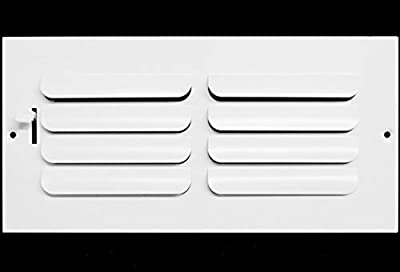 """10""""w x 6""""h 1-Way Fixed Curved Blade AIR Supply Diffuser - Vent Duct Cover - Grille Register - Sidewall or Ceiling - High Airflow - White"""