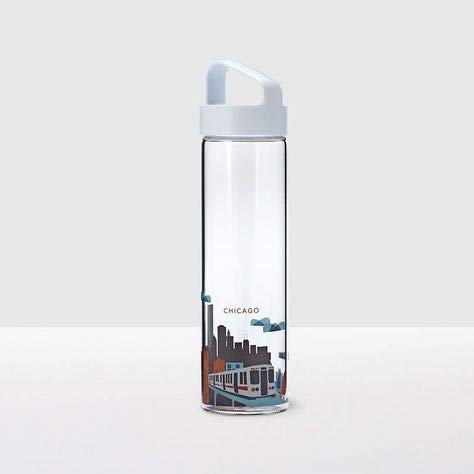 Starbucks Chicago You Are Here 18.5 Ounce City Water Bottle Glass