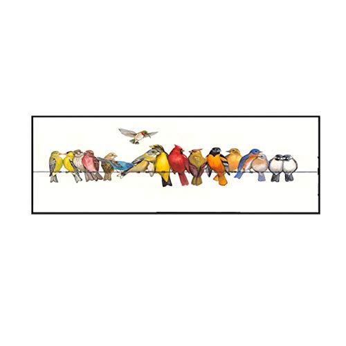 Impresión en lienzo Pintura sobre lienzo Pájaros coloridos Animal Wall Art Pictures Póster e impresiones Sala de estar nórdica Dormitorio Decoración para el hogar 50x150cm / 19.6 'x59.1' Sin marco