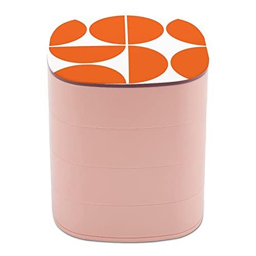 Joyero organizador redondo de 4 capas, giratorio de 360 grados, para anillos, pendientes, collares, pulseras, cuerdas, regalo para niña, madre, mediados de siglo, moderno naranja cuadrado