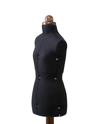 Schneiderbüste Lady Valet, Größe XS, Bezugfarbe schwarz, mit Rückenlängenverstellung, dunklem Holzstand, inklusive Schutzhülle