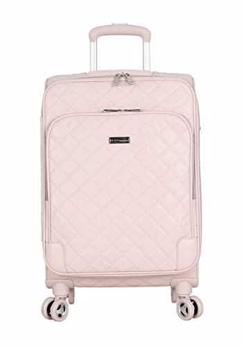 BCBGeneration Designer Luggage Collection - Expandable 20 Inch Carry On Softside Suitcase - Lightweight Small Bag with 8-Rolling Spinner Wheels (20in, Quilt Pink)