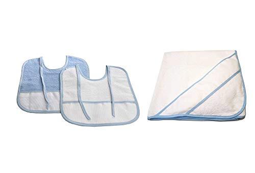 PURALGO-puro algodón. Toalla para bebés de punto de cruz, con capucha. (AZUL)