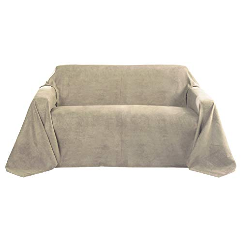 Beautissu Romantica Decke 210x280cm in Wildleder-Optik als Sofa-Überwurf Tagesdecke Plaid in Natur