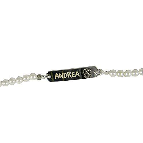 Regalo Personalizado para una niña en su Primera Comunión: Pulsera de Plata y Perlas grabada con el Nombre y Fecha o el Texto Que tú Quieras