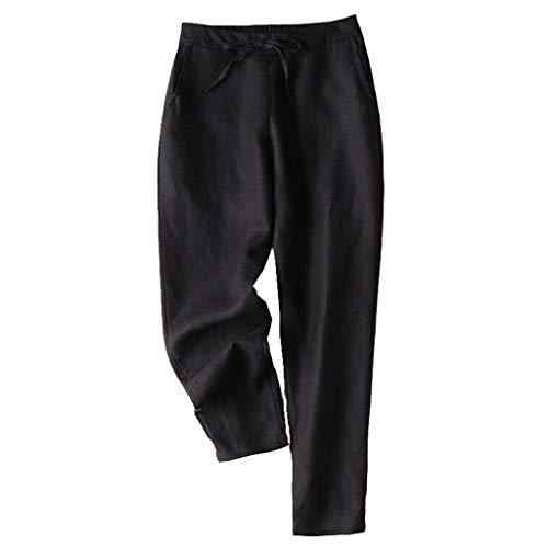 VRTUR Damen Hose mit Schlag Sommerhose Gummibund Freizeithose mit Taschen und Gürtel Lang Weites Bein Leinenhose Schwarz XXL