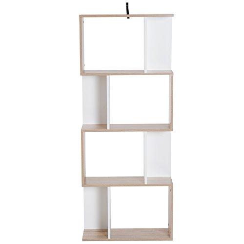 Homcom Libreria di Design Moderno 4 Ripiani Legno Naturale e Bianco, 60x24x148cm