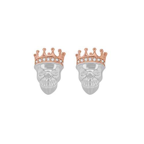 Tuscany Silver Pendiente Dormilona 'Calavera en la Corona' 9.2mm x 14mm Plata de Ley 2 Piedras de Circonita para Mujer