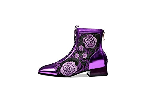 ZLFCRYP Sandalen Frühling und Sommer Rundholz Schnürstiefel Dick-Heeled Net Boots Damen Sandalen Blume Leder Hohl Mesh High-Heeled Sandalen purple-35