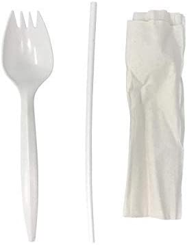 Cheap bargain Faithful Supply 100 Max 74% OFF case Wrapped Napkin Spork Plastic and Straw