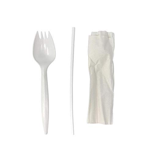Faithful Supply 100/case Wrapped Plastic Spork Straw and Napkin - Great Cutlery Kit for Kids, Teachers and School (100)