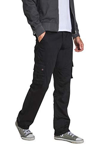 Herren Cargohose - Schwarz Loose Fit Combat Hose mit Vielen Tasche FIRSWOODBLACK-32W