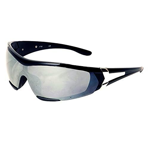 Generico Occhiali da Moto Antivento Avvolgenti 2 Lenti Incluse Specchiate Sportive - Baruffaldi (Nero)