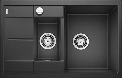 BLANCO METRA 6 S Compact – Rechteckige Granitspüle aus SILGRANIT für die Küche – für 60 cm breite Unterschränke – Mit Restebecken und verkürzter Abtropffläche – grau – 513473